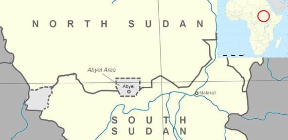 le région abéyi est au ligne entre Soudan Nord et Sud